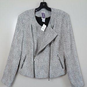 Zelda Black & White Tweed Double-Zip Jacket